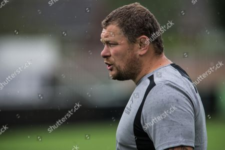 Micky Ward, Newcastle Falcons scrum coach leads a training session at Kingston Park.