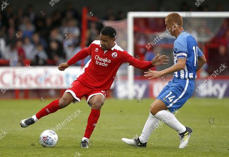 Dennon Lewis of Crawley holds off Steve Sidwell of Brighton during the pre season friendly between Crawley Town and Brighton and Hove Albion at the Checkatrade Stadium in Crawley. 22 Jul 2017