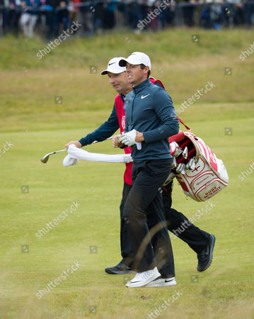 Rory McIlroy with his caddy JP Fitzgerald on the 18th hole