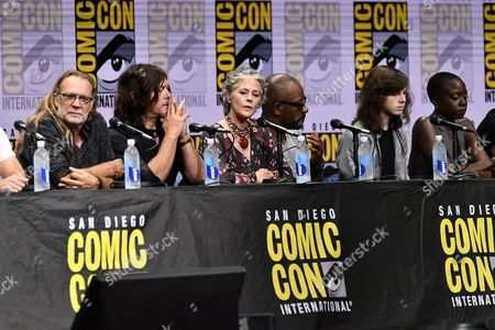 Greg Nicotero, Norman Reedus, Melissa McBride, Lennie James, Chandler Riggs and Danai Gurira