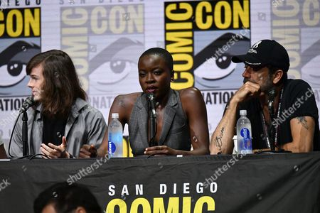 Chandler Riggs, Danai Gurira and Jeffrey Dean Morgan