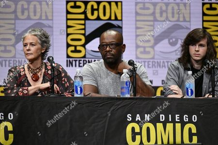 Melissa McBride, Lennie James and Chandler Riggs