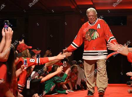 Stock Image of Former Chicago Blackhawks player Bobby Hull is introduced to fans during the NHL hockey team's convention, in Chicago