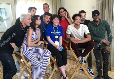 "Cody Christian, Linden Ashby, Melissa Ponzio, Dylan Sprayberry, Colton Haynes, Shelley Hennig, Charlie Carver, Tyler Posey, Khylin Rhambo Sydney Lang, 16, of Edmonton, Alberta, seated center, poses with cast members from ""Teen Wolf"" during a meet-and-greet arranged by the Make-A-Wish Foundation on day two of Comic-Con International, in San Diego. Pictured from front row left, Colton Haynes, Shelley Hennig, Charlie Carver, Tyler Posey and Khylin Rhambo, and from back row left are Cody Christian, Linden Ashby, Melissa Ponzio, and Dylan Sprayberry"