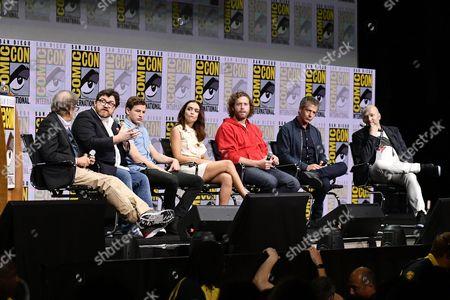 Steven Spielberg, Ernest Cline, Tye Sheridan, Olivia Cooke, TJ Miller, Ben Mendelsohn and Zak Penn
