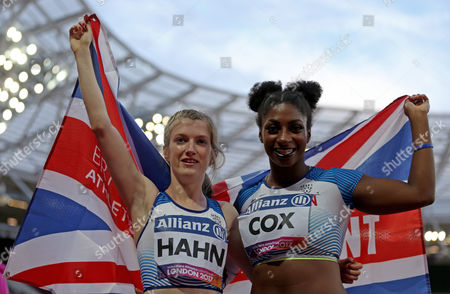 Sophie Hahn gold medalist and Kadeena Cox silver medalist of Great Britain celebrate after the Women's 100m T38 Final