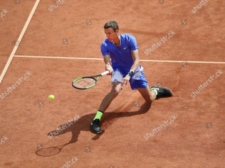 Russia's Andrey Kuznetsov in action during his semi final match against Ukraine's Alexandr Dolgopolov at the Swedish Open tennis tournament in Bastad, Sweden, 22 July 2017.