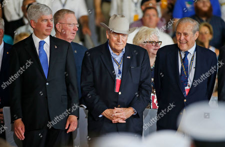 Dick Cheney, Donald Rumsfeld, Rick Snyder Michigan Gov. Rick Snyder, left, stands with former Vice President Dick Cheney, center, and former Secretery of Defense, Donald Rumsfeld, right, aboard the nuclear aircraft carrier USS Gerald R. Ford for it's commissioning at Naval Station Norfolk in Norfolk, Va