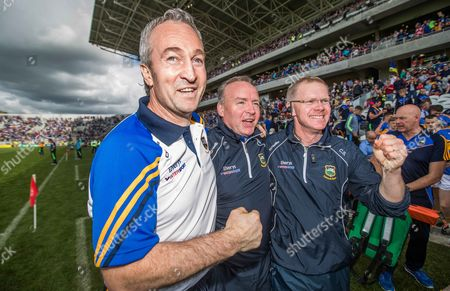 Clare vs Tipperary. Tipperary manager Michael Ryan celebrates with selectors John Madden and Conor Stakelum