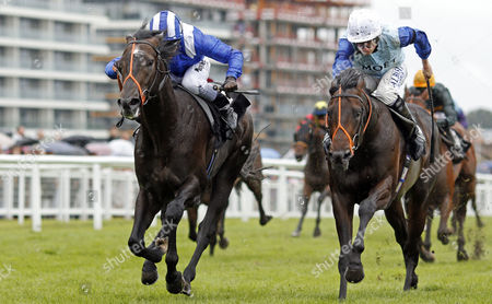 Stock Photo of ALKHALIFA (left, Jim Crowley) beats OLIVER REED (right) in The bet365 Novice Stakes Newbury