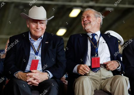 Dick Cheney, Donald Rumsfeld Former Vice President Dick Cheney, left, and former Secretary of Defense, Donald Rumsfeld, sit together on stage during the commissioning ceremony of the aircraft carrier USS Gerald R. Ford (CVN 78) at Naval Station Norfolk, Va., Saturday, July, 22, 2017