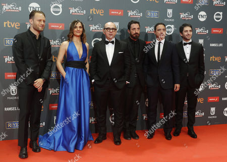 Chilean filmmaker Palo Larrain (3-R), Chilean producer Juan de Dios Larrain (2-R), Chilean actors Antonio Zegers and Luis Gnecco (3-L) and Argentinian pianist Federico Jusid (L) pose as they arrive at the 4th Ibero American Cinema Platino Awards ceremony at the Magic Box in Madrid, Spain, 22 July 2017.