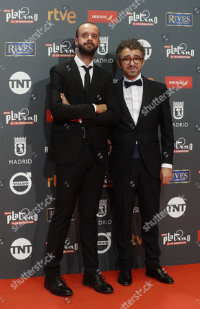 Spanish setting directors Fernando Franco (L) and Alberto del Campo (R) of 'Que Dios nos perdone' pose as they arrive at the 4th Ibero American Cinema Platino Awards ceremony at the Magic Box in Madrid, Spain, 22 July 2017.