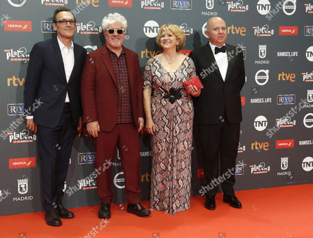 Spanish director Pedro Almodovar (2L), producer Agustin Almodovar (R), musical director Alberto Iglesias (L) and production director Esther Garcia pose as they arrive at the 4th Ibero American Cinema Platino Awards ceremony at the Magic Box in Madrid, Spain, 22 July 2017.