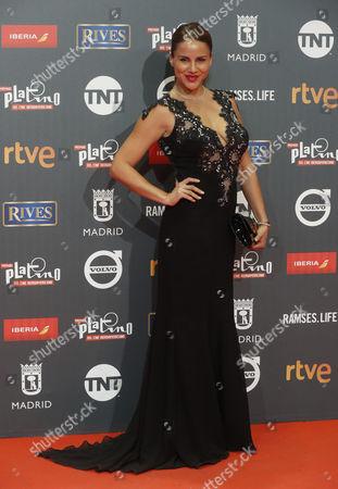 Peruvian TV host Monica Hoyos poses as she arrives at the 4th Ibero American Cinema Platino Awards ceremony at the Magic Box in Madrid, Spain, 22 July 2017.