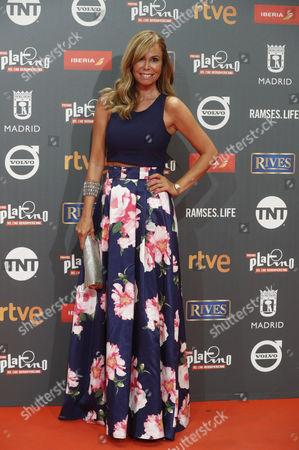 Spanish TV host Lara Dibildos poses as she arrives at the 4th Ibero American Cinema Platino Awards ceremony at the Magic Box in Madrid, Spain, 22 July 2017.