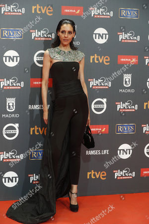 Stock Picture of Spanish actress Yolanda Font poses as she arrives at the 4th Ibero American Cinema Platino Awards ceremony at the Magic Box in Madrid, Spain, 22 July 2017.