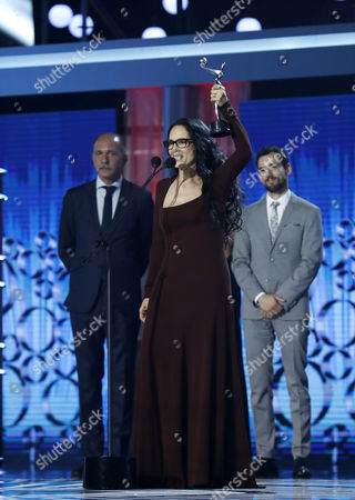 Brazilian actress Sonia Braga receives the Platino Award to 'Best Female Performance' for 'Acuarius' during the 4th Ibero American Cinema Platino Awards ceremony at the Magic Box in Madrid, Spain, 22 July 2017.