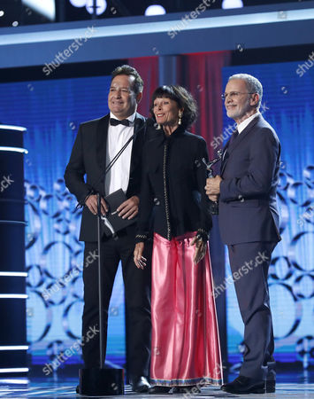 (L-R) Actors Jorge Perugorria, Geraldine Chaplin and Tony Plana during the 4th Ibero American Cinema Platino Awards ceremony at the Magic Box in Madrid, Spain, 22 July 2017.