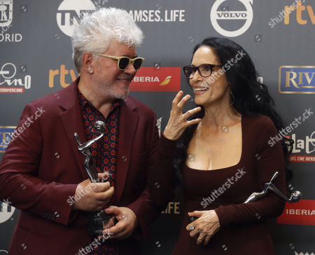 Spanish director Pedro Almodovar (L) and Brazilian actress Sonia Braga pose with tehir awards during the 4th Ibero American Cinema Platino Awards ceremony at the Magic Box in Madrid, Spain, 22 July 2017.