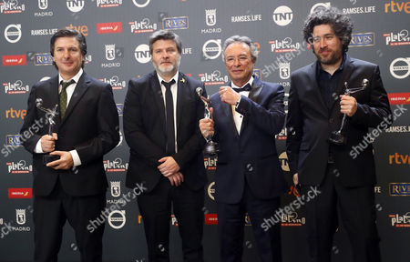 Directors Mario Cohn (R) and Gaston Duprat (2L), writer Andres Duprat (L) and actor Oscar Martinez (2R) of the Argentinian film 'El ciudadano ilustre' during the 4th Ibero American Cinema Platino Awards ceremony at the Magic Box in Madrid, Spain, 22 July 2017.