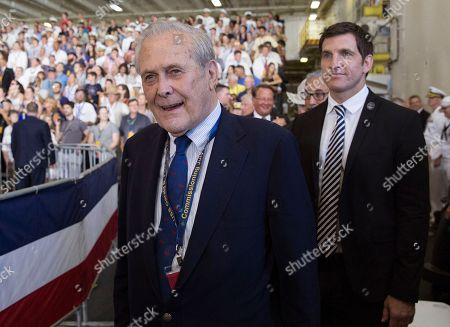 Former Secretary of Defense Donald Rumsfeld arrives commissioning ceremony of the aircraft carrier USS Gerald R. Ford (CVN 78) at Naval Station Norfolk, Va., Saturday, July, 22, 2017