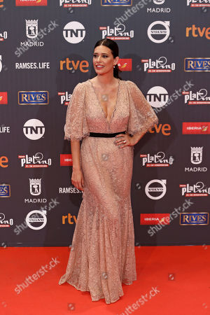 Colombian actress Angie Cepeda poses for photographers on the red carpet of the Platino Awards ceremony in Madrid