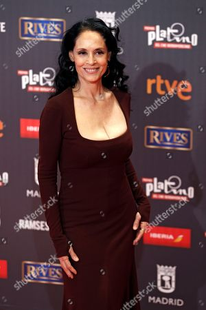 Brazilian actress Sonia Braga poses for photographers on the red carpet, at the Platino Awards ceremony in Madrid