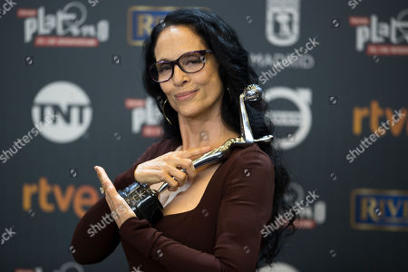 Brazilian actress Sonia Braga poses for photographers after winning the best actress award during the Platino Awards ceremony in Madrid,. The Platino Awards honor cinema produced in Latin America, Spain and Portugal