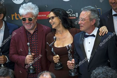 Pedro Almodovar, Oscar Martinez, Sonia Braga From left to right, best director winner Pedro Almodovar, of Spain, best actress recipient Sonia Braga, of Brazil, and best actor winner Oscar Martinez, of Argentina, pose with their awards at the end of the Platino Awards ceremony in Madrid, early . The Platino Awards honor cinema produced in Latin America, Spain and Portugal