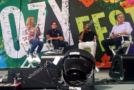 Samantha Bee, Mark Cuban, Carlos Watson, Jeb Bush Comedian Samantha Bee, left, joins businessman Mark Cuban, center left, television host Carlos Watson, center right, and former Florida Gov. Jeb Bush, at a summer festival in New York City's Central Park, . Cuban and Bush lashed out at President Donald Trump's performance in the White House, saying that the president will make it harder for Republicans ? and billionaires, in the coming elections