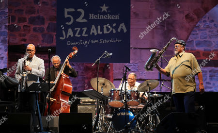 'Saxophone Summit' members (L-R) Greg Osby, Cecil McBee, Billy Hart and Joe Lovano perform on stage during the San Sebastian's Jazz Festival at the Trinidad square in San Sebastian, Basque Country, 22 July 2017.  =