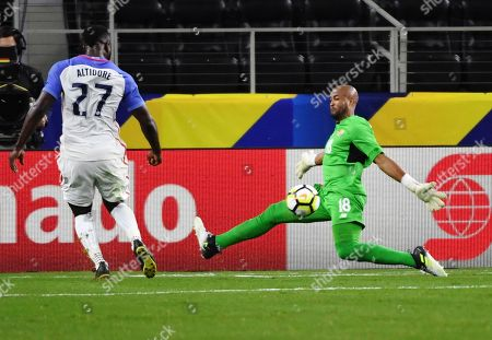 Patrick Pemberton, Jozy Altidore United States' Jozy Altidore (27) kicks the ball past Costa Rica goalkeeper Patrick Pemberton (18) for a goal during a CONCACAF Gold Cup semifinal soccer match in Arlington, Texas, . United States won 2-0