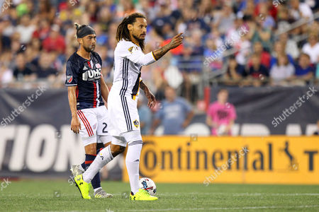, 2017; Foxborough, MA, USA; Los Angeles Galaxy midfielder Jermaine Jones (13) gestures during the first half of an MLS match between Los Angeles Galaxy and New England Revolution at Gillette Stadium. New England won 4-3
