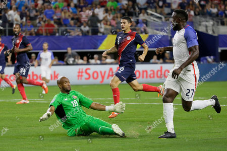 Patrick Pemberton, Patrick Pemberton Costa Rica goalkeeper Patrick Pemberton, left, fails to stop a goal scoring by United States' Jozy Altidore, right, during a CONCACAF Gold Cup semifinal soccer match in Arlington, Texas