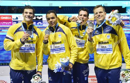 Marcelo Chierighini, Gabriel Santos, Bruno Fratus and Cesar Cielo Filho (L-R) of Brazil show off their silver medals during the medal ceremony of the men's 4x100-meter freestyle final of the FINA Swimming World Championships 2017 in Budapest, Hungary, 23 July 2017.