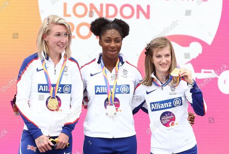 Georgina Hermitage of Great Britain who won gold in the Womens 100m T37 with Kadeena Cox and Sophie Hahn of Great Britain who won silver and gold in the Womens 100m T38 pose together.