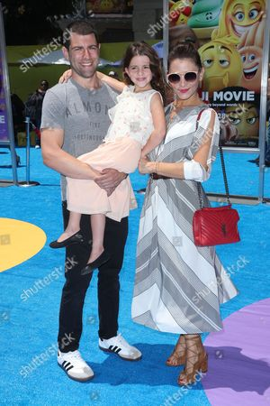 Max Greenfield, daughter Lily Greenfield and wife Tess Sanchez