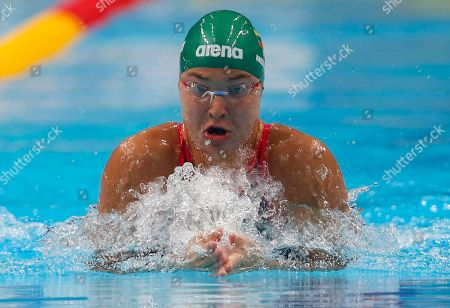 Lithuania's Ruta Meilutyte competes in a women's 100-meter breaststroke heat during the swimming competitions of the World Aquatics Championships in Budapest, Hungary