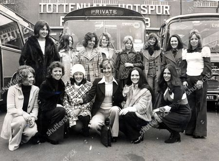Tottenham Hotspur Fc Players Wives Pictured Outside White Hart Lane Prior To Leaving For Wembley For The League Cup Final V Norwich. L-r: Back Row: Gwen England (mrs Mike England) Carol Chivers (mrs Martin Chivers) Sandra Evans (mrs Ray Evans) The Club Doctor's Wife Marilyn Morgan (mrs Roger Morgan) Deborah Burke (mike Dillon's Girlfriend) Linda Naylor (mrs Terry Naylor) & Sheila Neighbour (mrs Jimmy Neighbour). Front Row: Marie Pratt (mrs John Pratt) Bonnie Arnold (joe Kinnear's Girlfriend) Valerie Beal (mrs Phil Beal) Kathleen Peters (mrs Martin Peters) Eleanor Jennings (mrs Pat Jennings) And Sandra Coates (mrs Ralph Coates).
