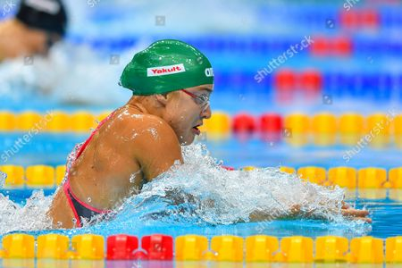 Ruta Meilutyte competes during the Women's 100m Breastroke heat