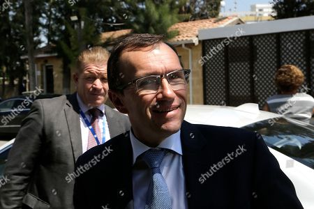 U.N. Special Advisor of the Secretary-General Espen Barth Eide arrives for a meeting with the Turkish Cypriot leader Mustafa Akinci, in the Turkish Cypriot breakaway north part of Nicosia, Cyprus, . Eide meet with rival leaders of ethnically divided Cyprus in a first time after the negotiations talks at Crans-Montana