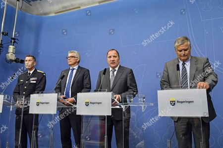 (L-R) Supreme Commander of the Armed Forces Micael Bydern, Director-general of the Swedish security police Anders Thornberg, 