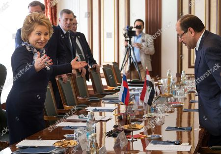 Nouri al-Maliki, Valentina Matviyenko Valentina Matviyenko, speaker of the Federation Council, Russian parliament's upper chamber, left, welcomes Vice President of Iraq Nouri al-Maliki during their meeting in Moscow, Russia, on