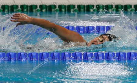 Syrian refugee Yusra Mardini competes during the swimming competitions of the World Aquatics Championships in Budapest, Hungary