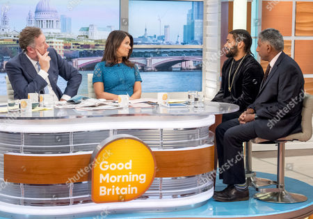 Piers Morgan and Susanna Reid with Jermaine Lawlor and Met Chief superintendent Dal Babu