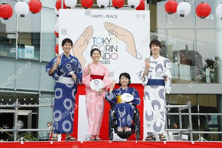 (L-R) Maharu Yoshimura, Homare Sawa, Aki Taguchi, Takuro Yamada