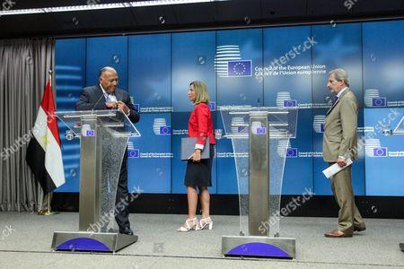 Federica Mogherini, Johannes Hahn, Sameh Hassan Shoukry