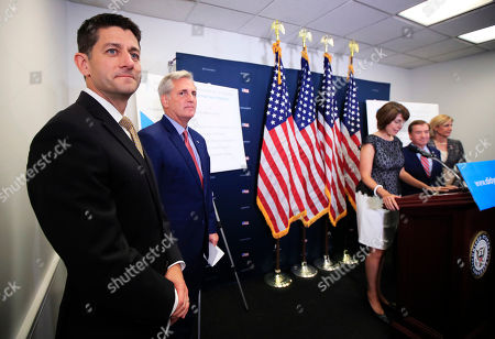 Paul Ryan, Kevin McCarthy of Calif., Cathy McMorris Rodgers, Claudia Tenney, Ed Royce From left, House Speaker Paul Ryan of Wis., House Majority Leader Kevin McCarthy of Calif., Rep. Cathy McMorris Rodgers, R-Wash., Rep. Ed Royce, R-Calif., and Rep. Claudia Tenney, R-N.Y. participate in a news conference on Capitol Hill in Washington, following a House GOP Caucus