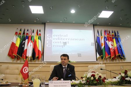 Tunisian Interior Minister Hedi Majdoub looks during the opening meeting on security attended by interior ministers from central Mediterranean countries